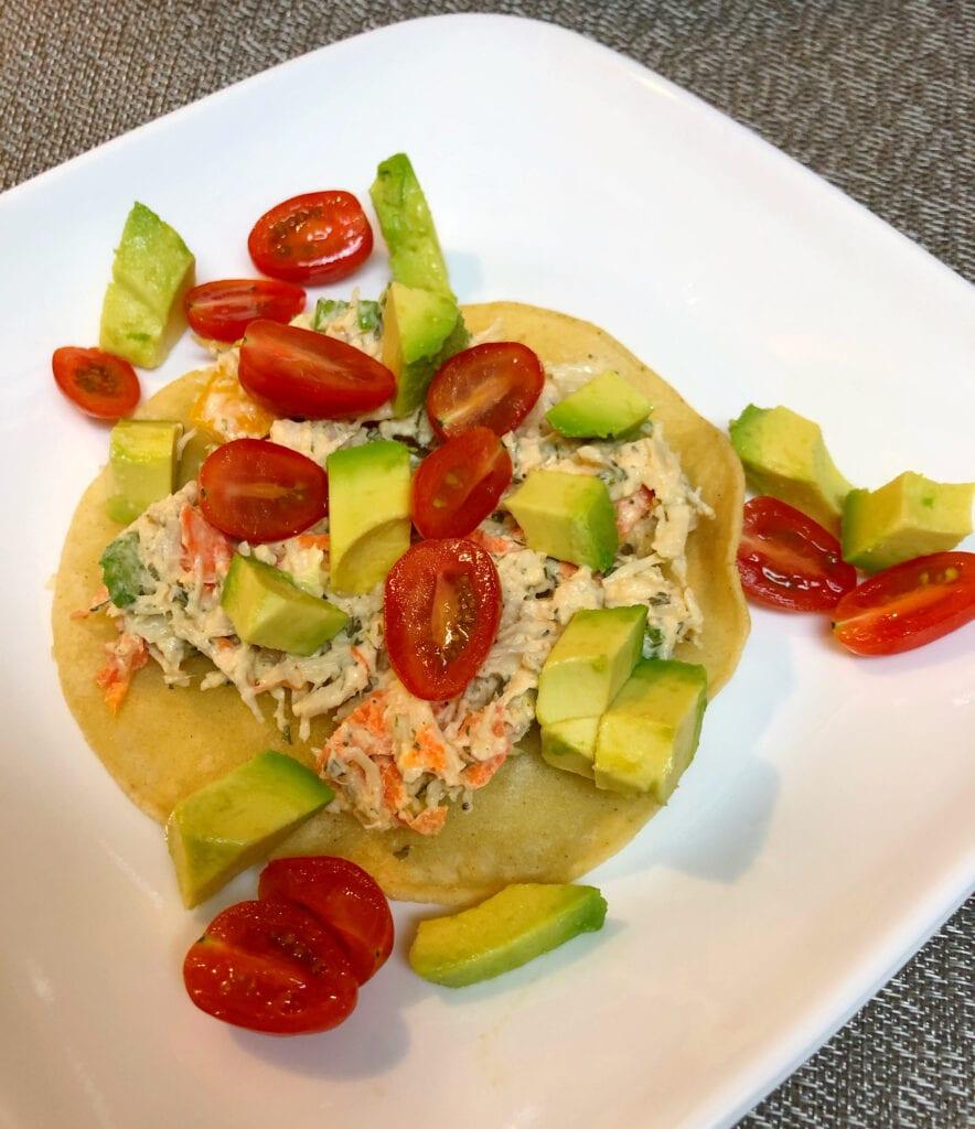 Fresh Chicken Salad Ingredients on a Corn Tortilla
