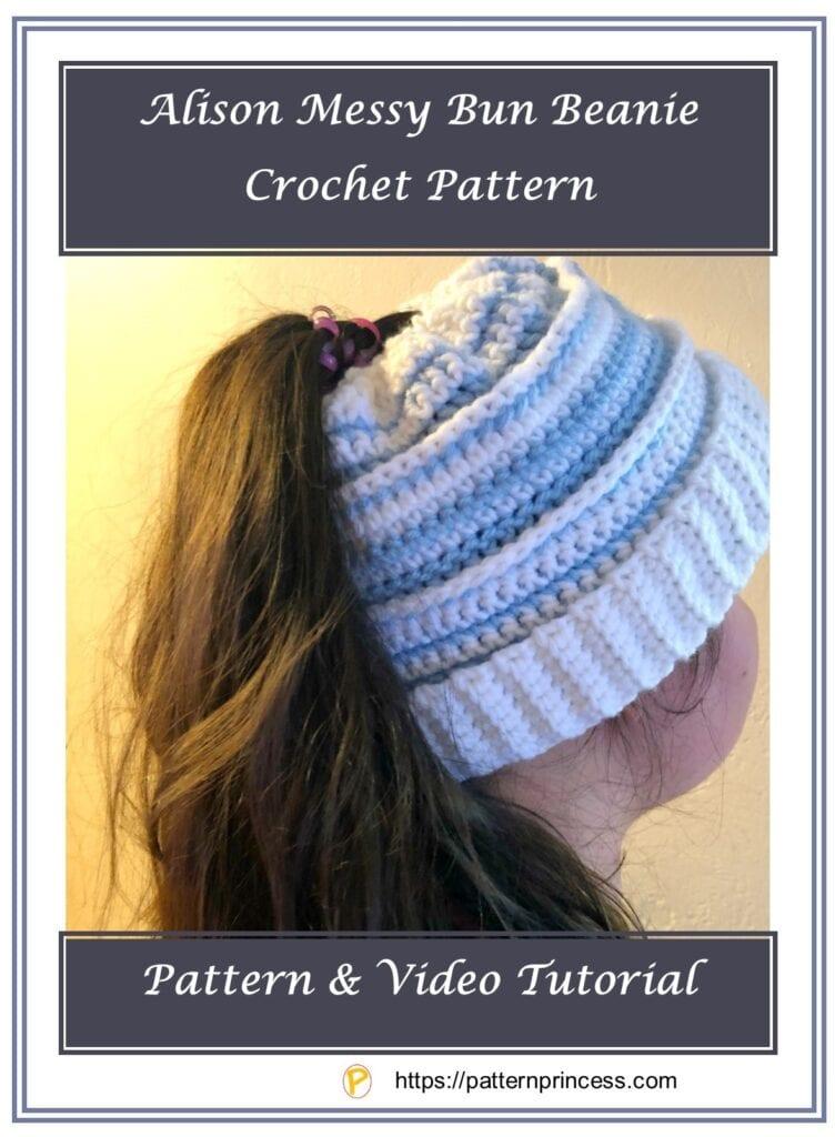 Alison Messy Bun Beanie Crochet Pattern