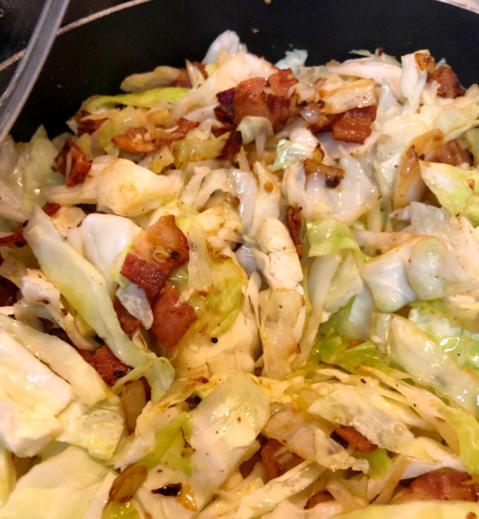 Adding Cabbage to Skillet