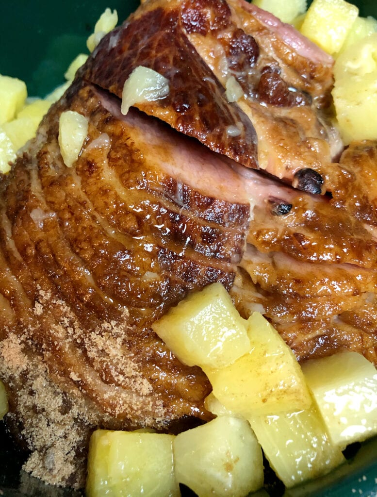 Adding Brown Sugar and Pineapple to the Slow Cooker Ham