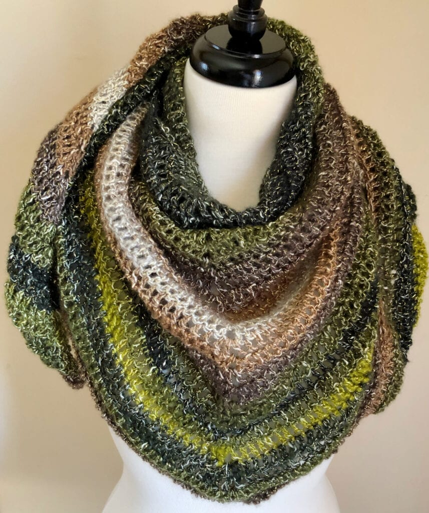 Lacy Wrap with Ends Nestled Over the Shoulders