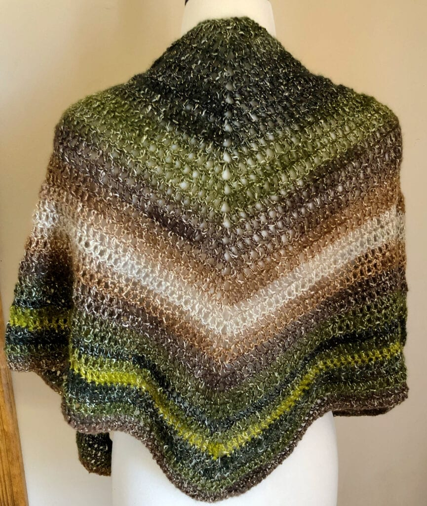 Woodland Faerie Triangle Shawl Draped Over the Shoulders Back View