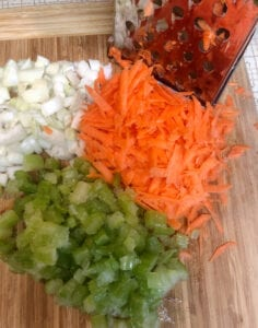 Prepping Carrots, Onions, and Celery