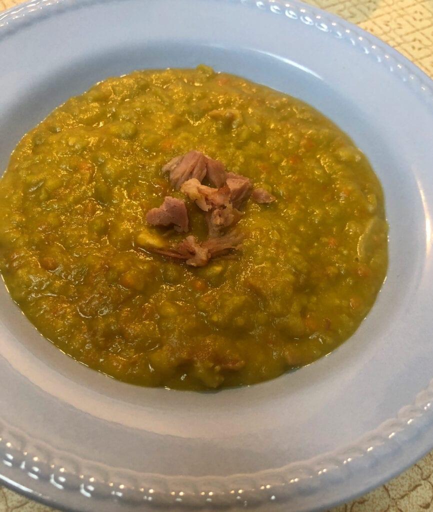 Split Pea Soup with Ham Garnish