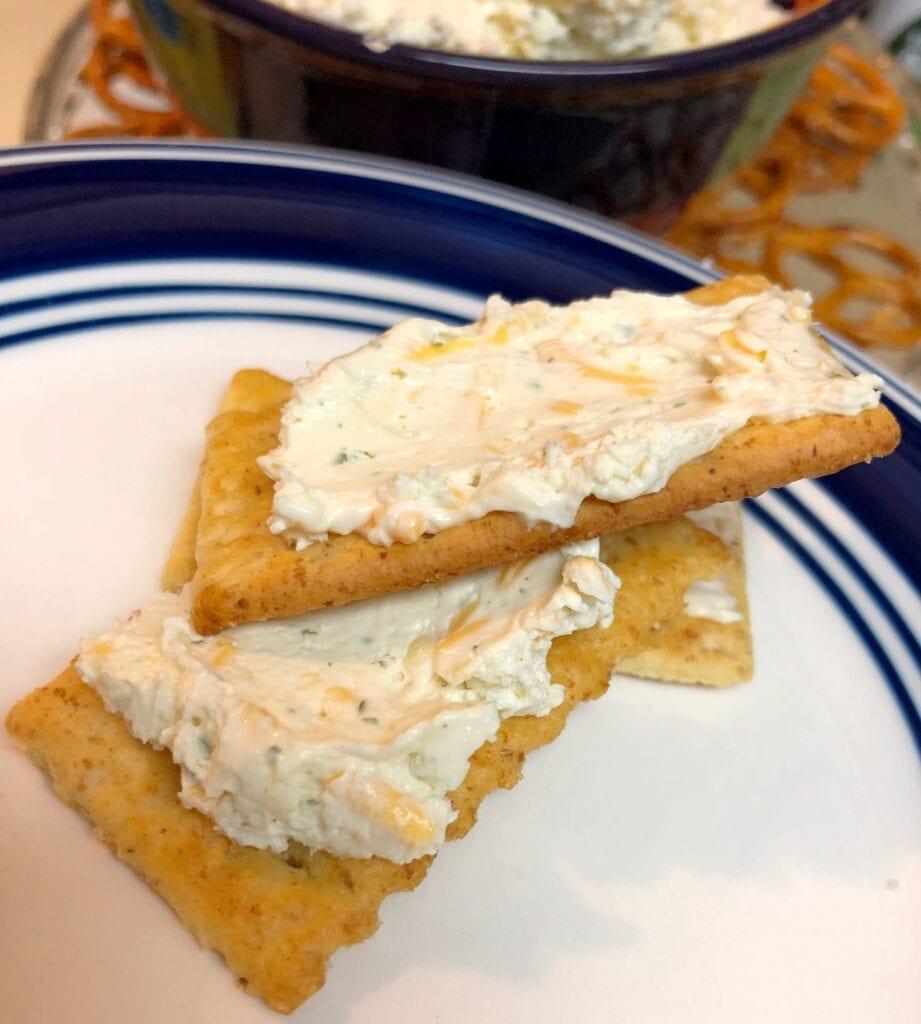 Beer Dip on Multi-Grain Crackers