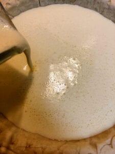 Pouring Custard into Pie Crust