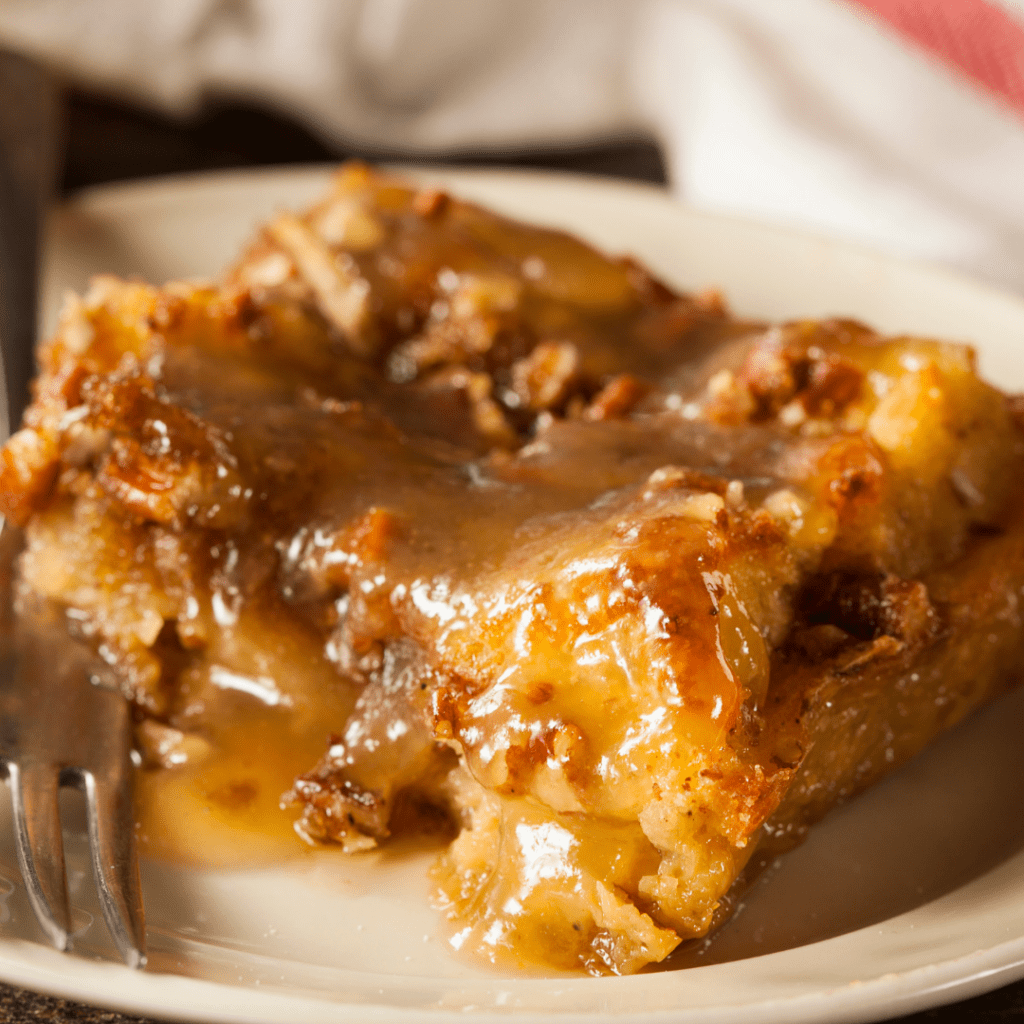 Bread Pudding Served with Warm Sauce