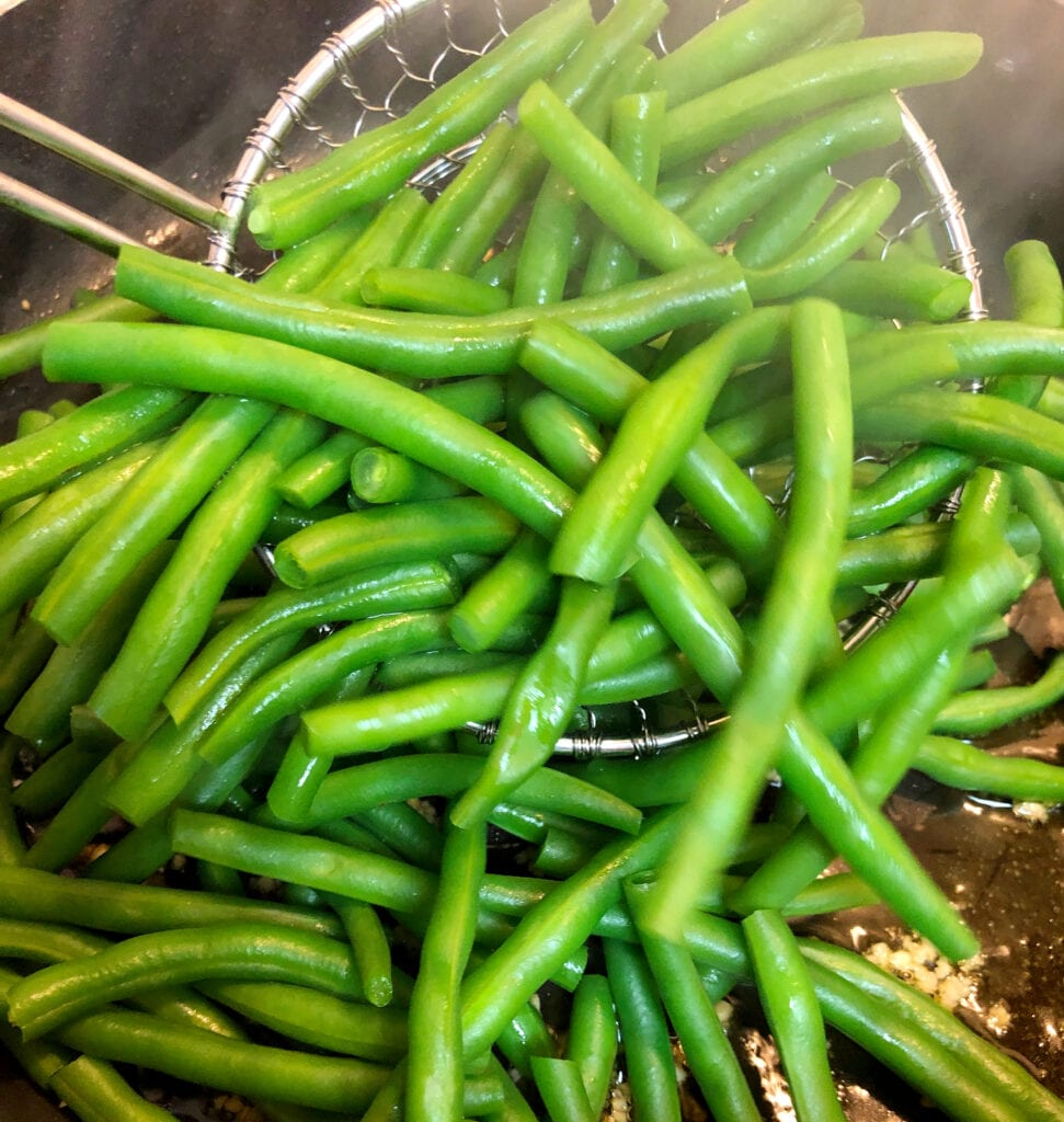 Removing Blanched Beans from Water