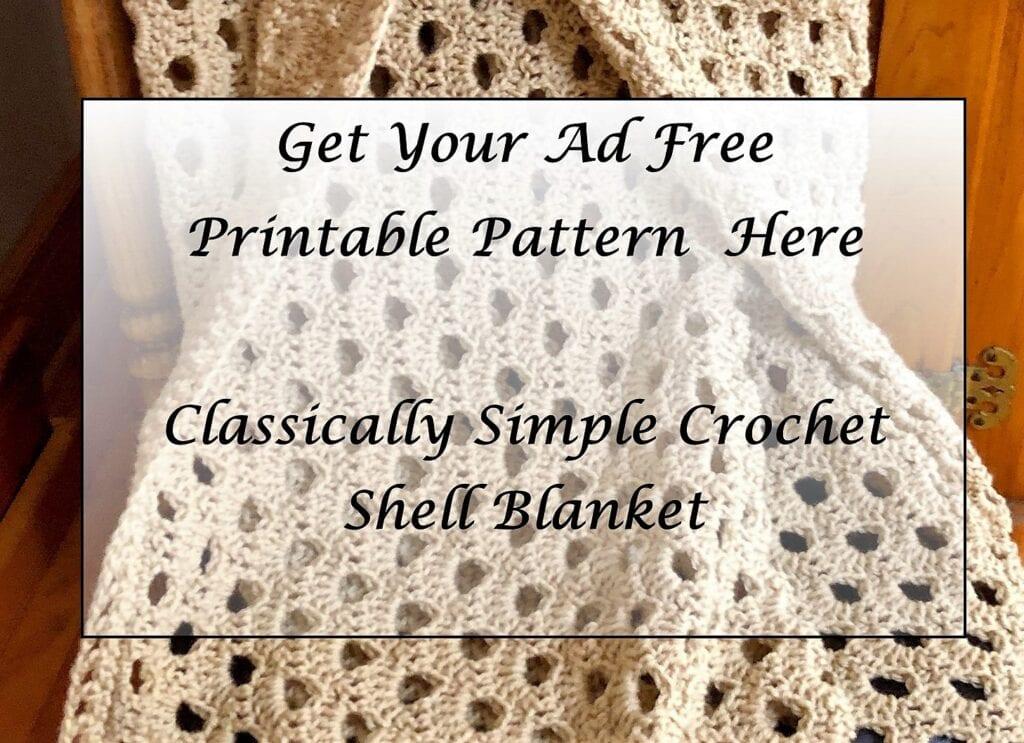 Classically Simple Crochet Shell Blanket Printable