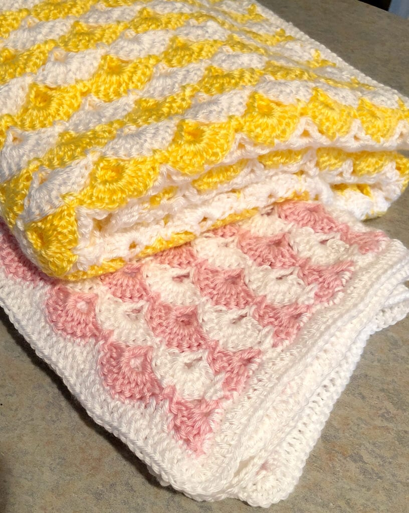 Pink and White - Yellow and White Shells Blankets Folded