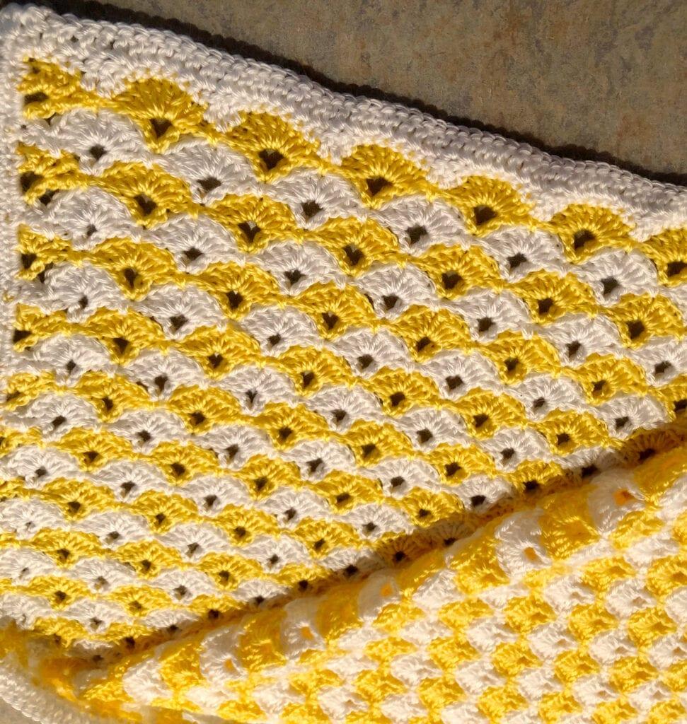 Double Crochet Border on Baby Blanket