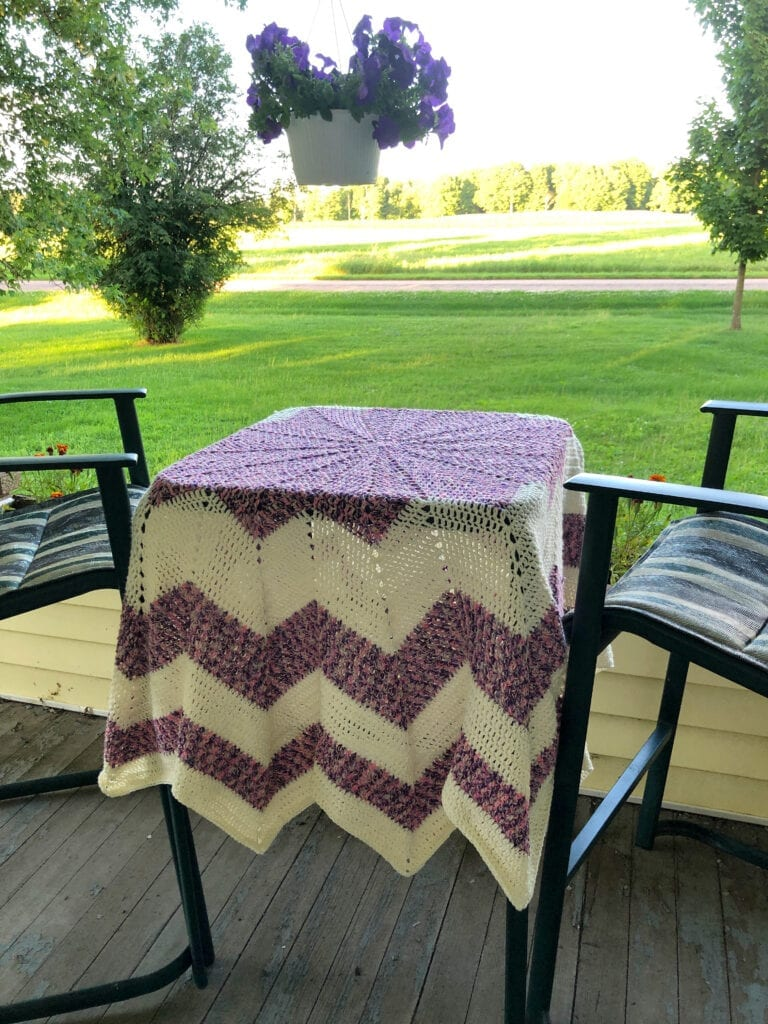 Round Chevron Blanket Displayed as a Tablecloth