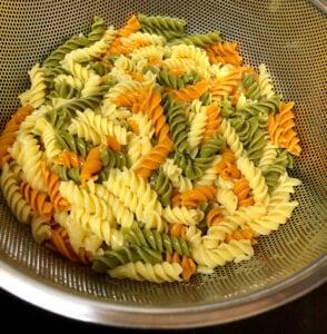 Rinsing Tri-Colored Pasta