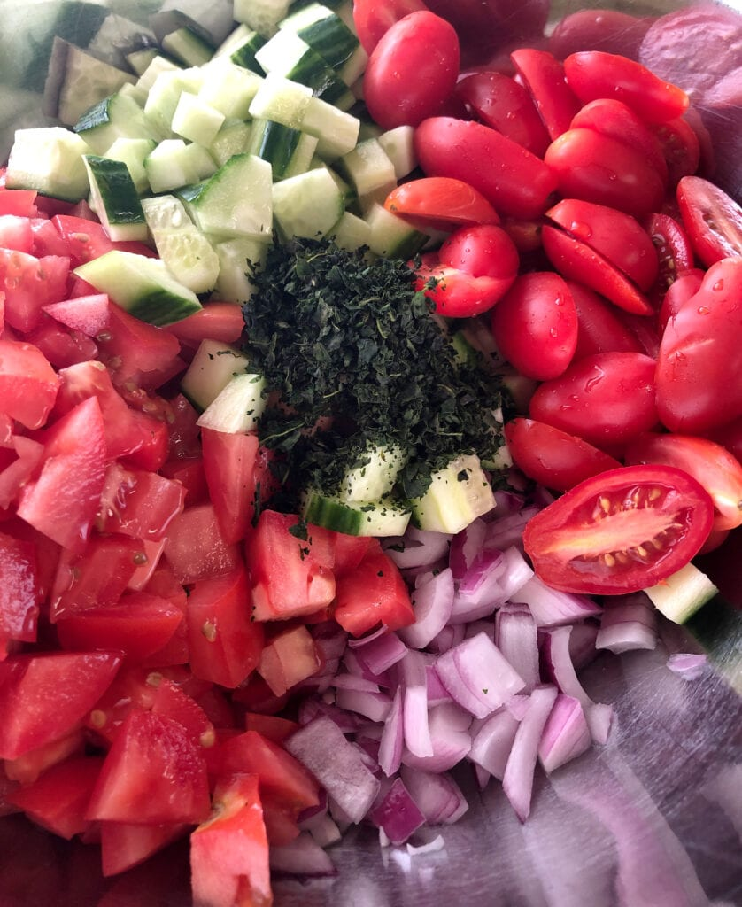 Fresh Ingredients for Tomato and Cucumber Bruchetta