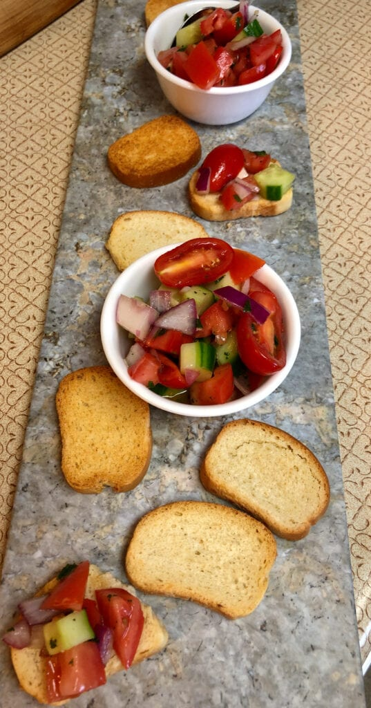 Appetizer of Tomato and Cucumber Crostini Display