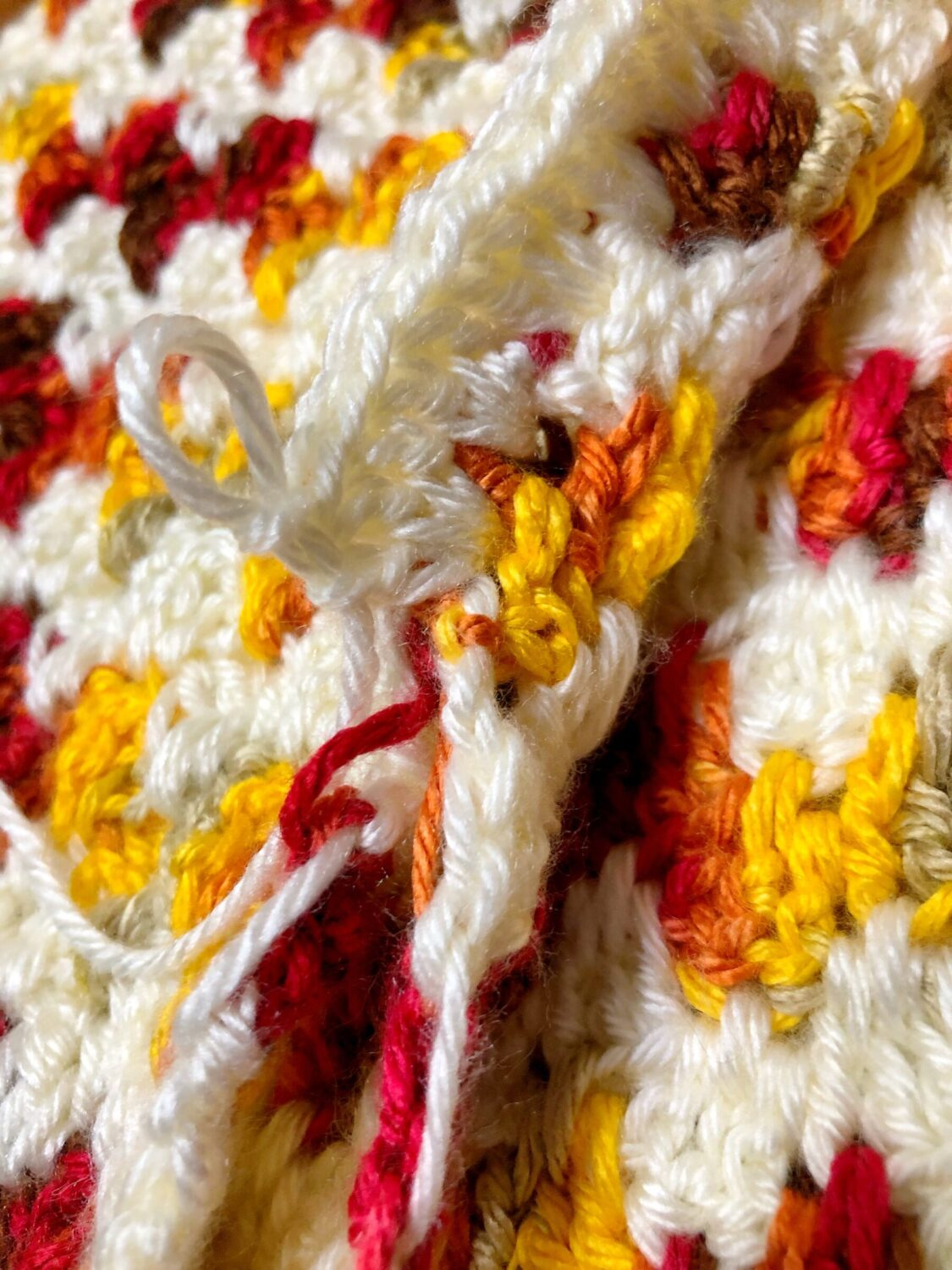 Crocheting White Border Through Front and Back of Pillow Cover