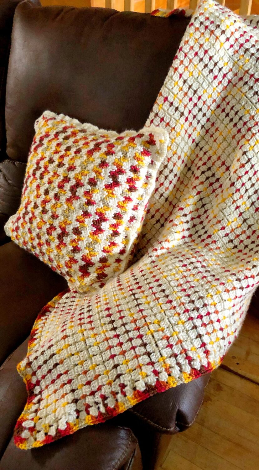 Embrace Autumn Pillow Cover Paired with Fireside Crochet Throw