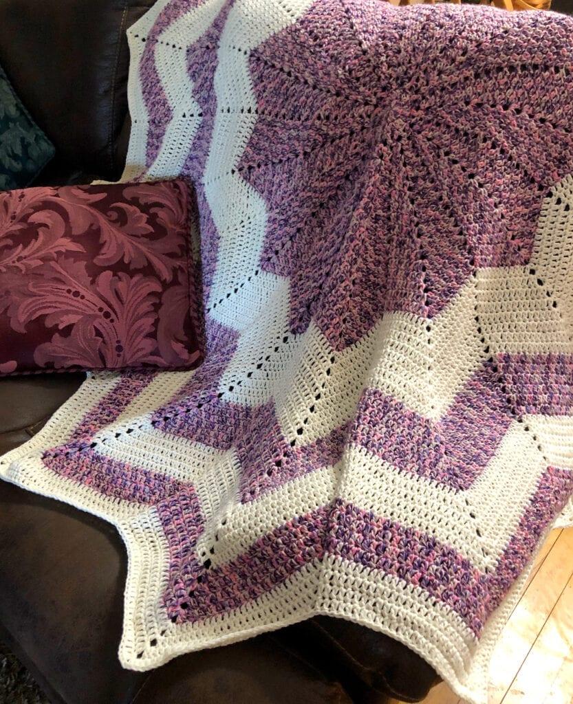 Easy Crochet Round Throw Displayed on Sofa
