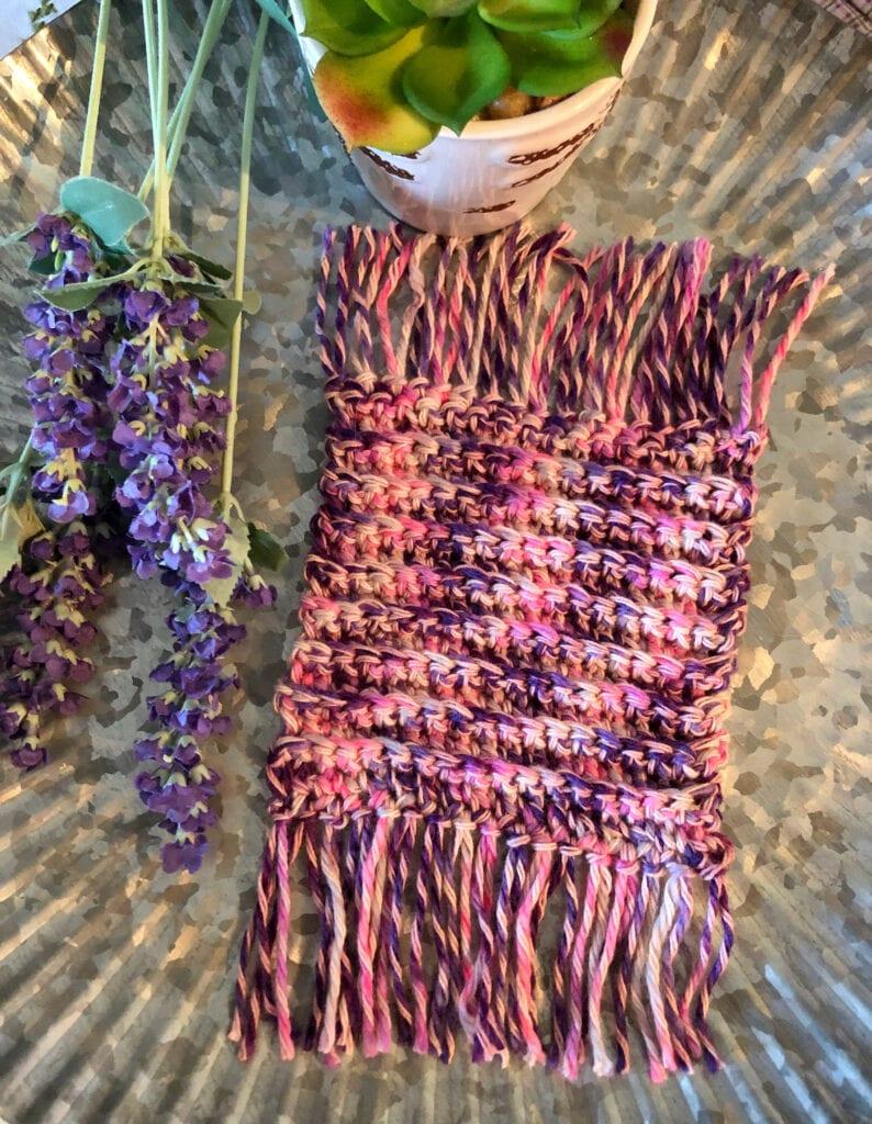 Crochet Ribbed Square Coaster