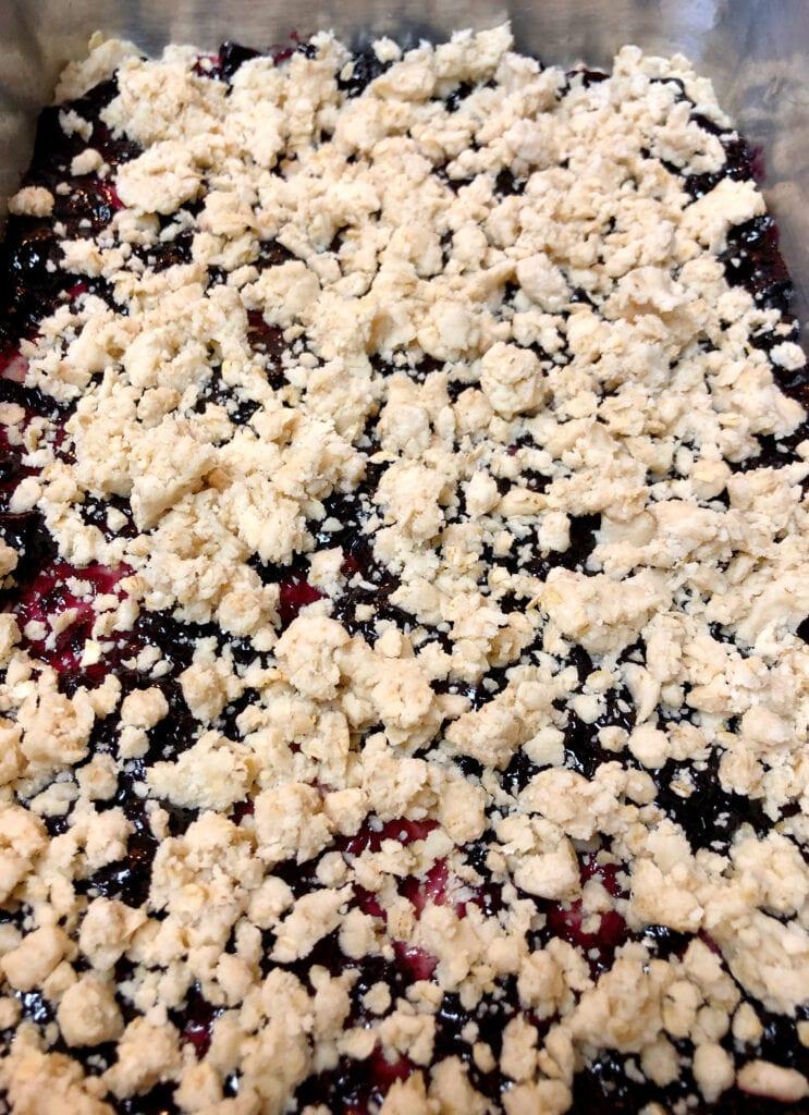 Blueberry Dessert Bars Ready for Baking