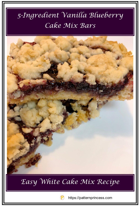5-Ingredient Vanilla Blueberry Cake Mix Bars