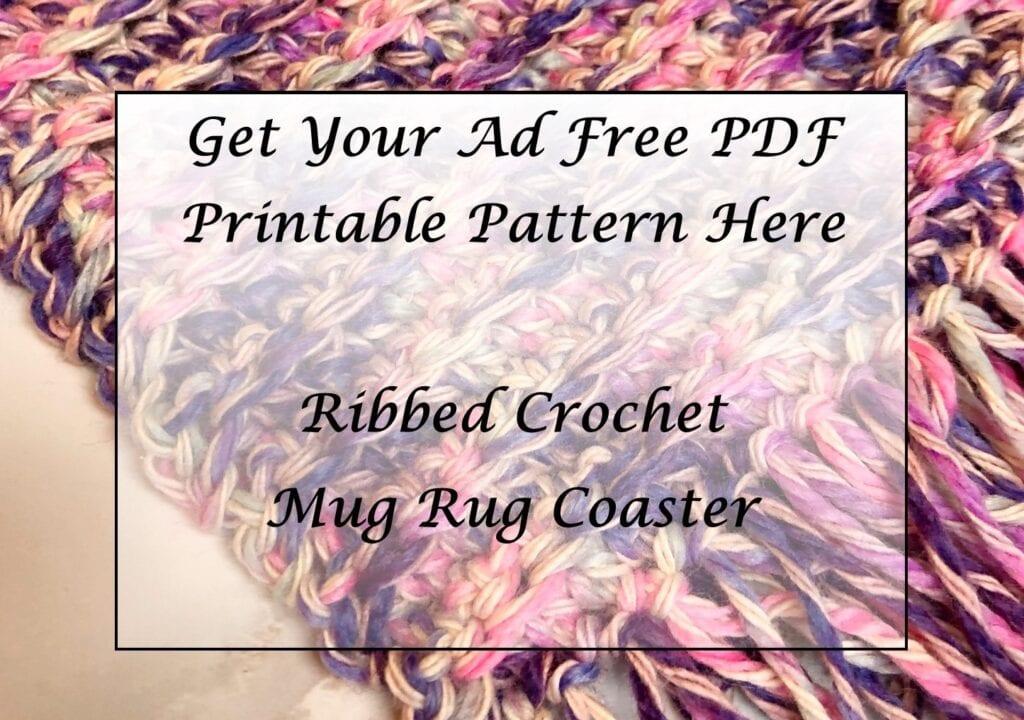 Ribbed Crochet Mug Rug Coaster Printable Pattern