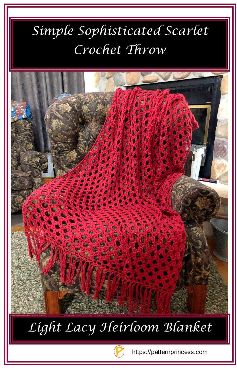 Simple Sophisticated Scarlet Crochet Throw