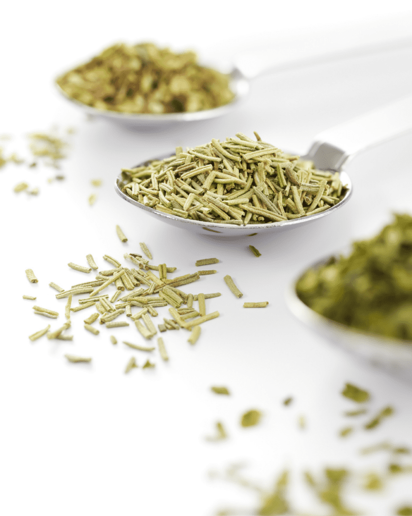 Dried Herbs on Measuring Spoons