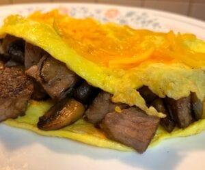 Steak Cheese and Mushroom Egg Omelette