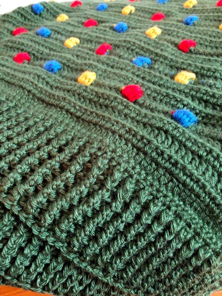Crochet Ribbed Border on Holiday Blanket