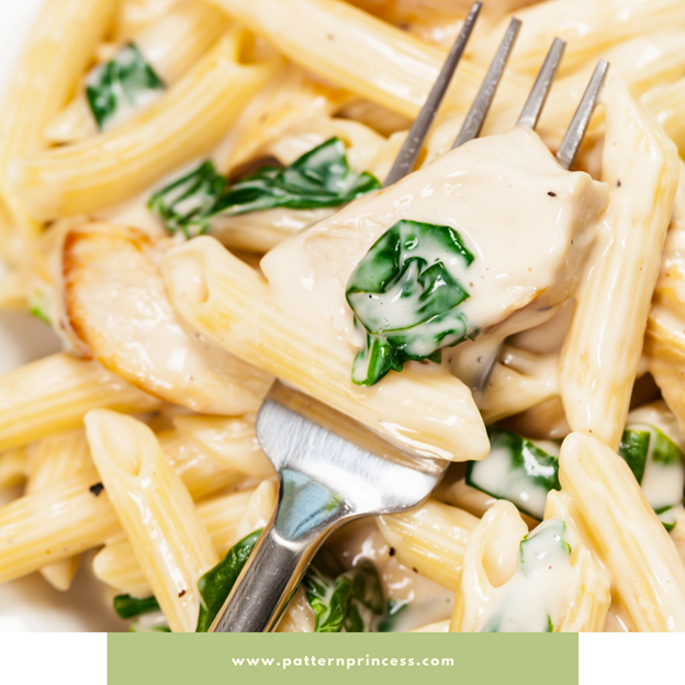 Penne Alfredo with Chicken and Basil