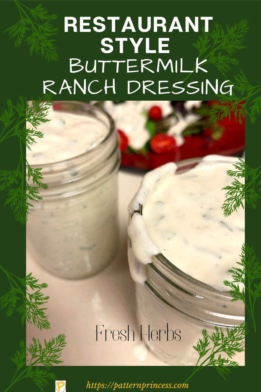 Restaurant Style Buttermilk Ranch Dressing