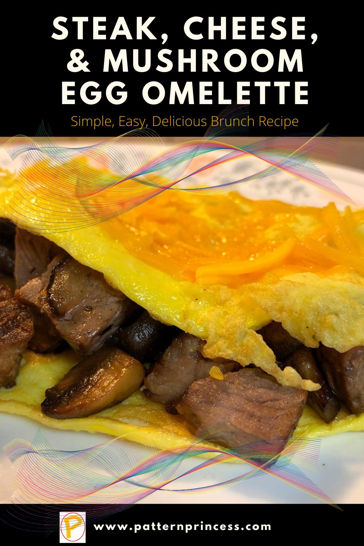 Steak, Cheese, and Mushroom Egg Omelette