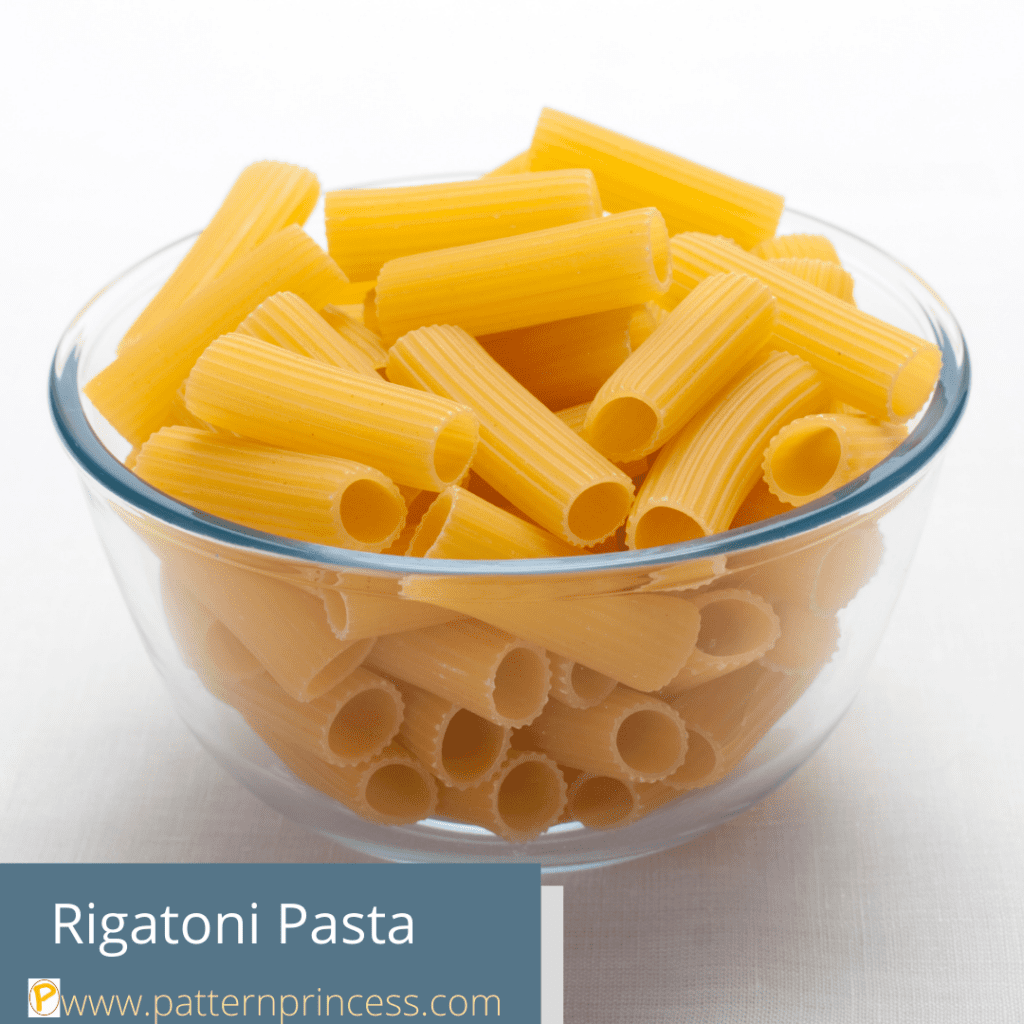Rigatoni Pasta Dried in a Bowl for display