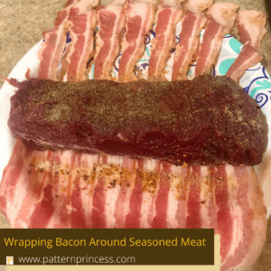 Wrapping Bacon Around Seasoned Meat
