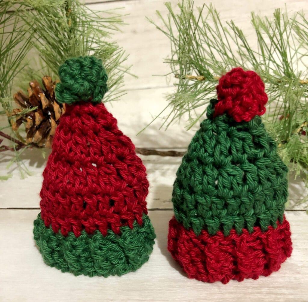 Miniature Crochet Hats Standing Upright as a Decoration