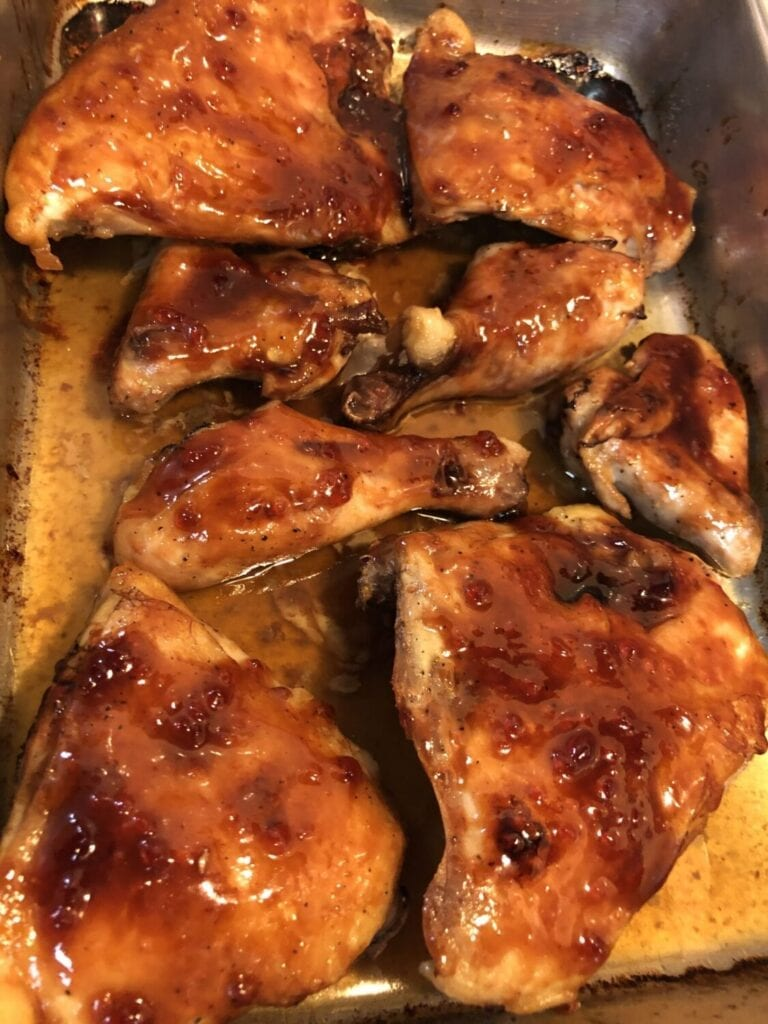 Crispy Sweet Sticky BBQ Chicken in the Oven pan