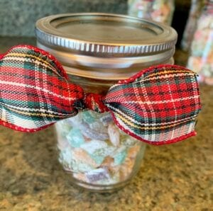 Sugar Candy Gift in Canning Jar with Christmas Bow