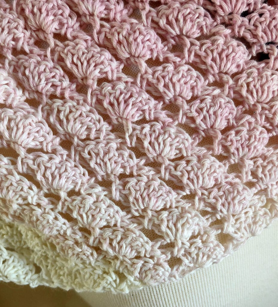Close Up of Crochet Shell Stitches