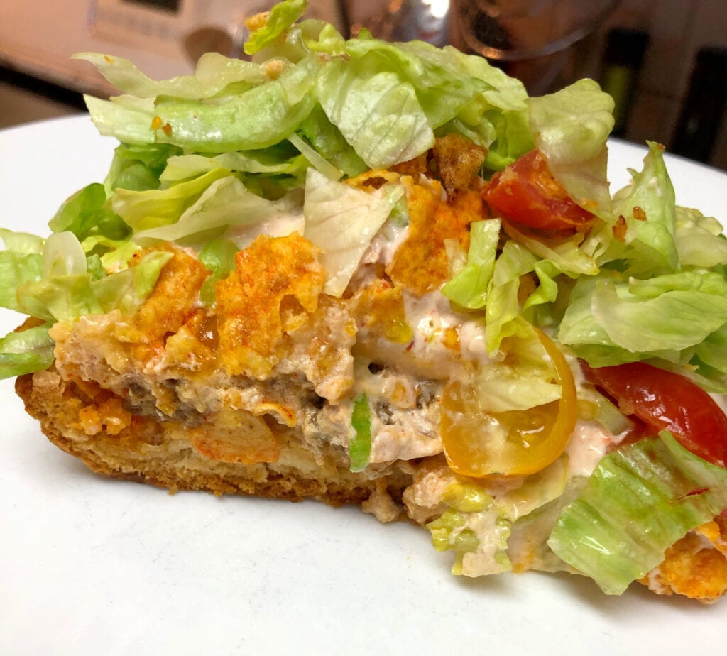 Serving a Wedge of Taco Casserole