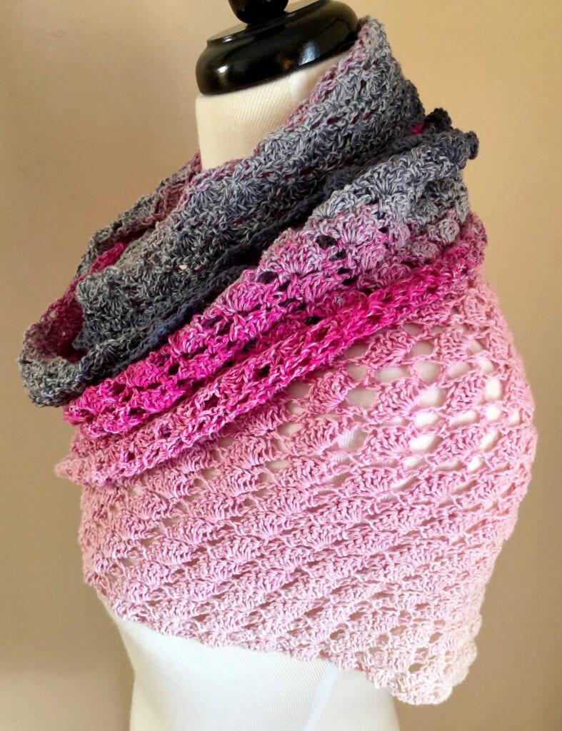Side View of Feeling Flirty Crochet Shawl