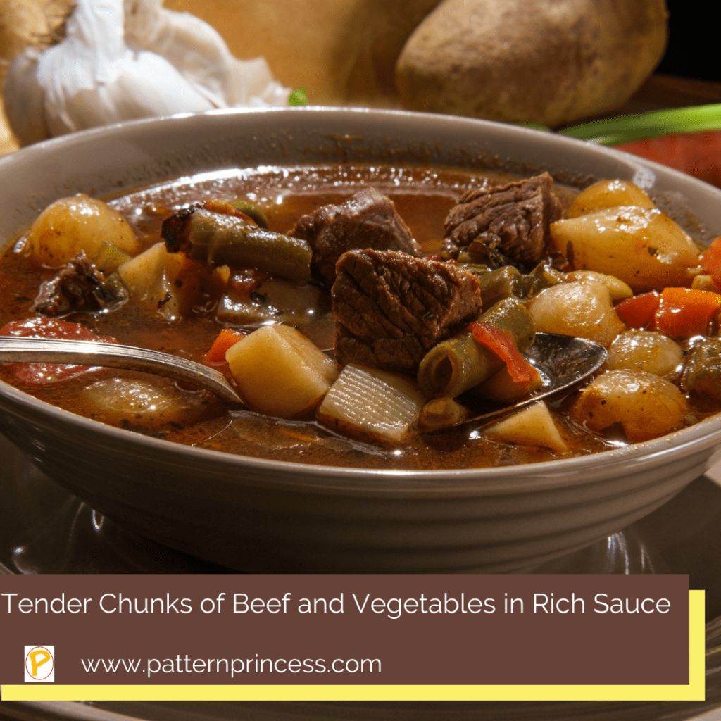 Tender Chunks of Beef and Vegetables in Rich Sauce