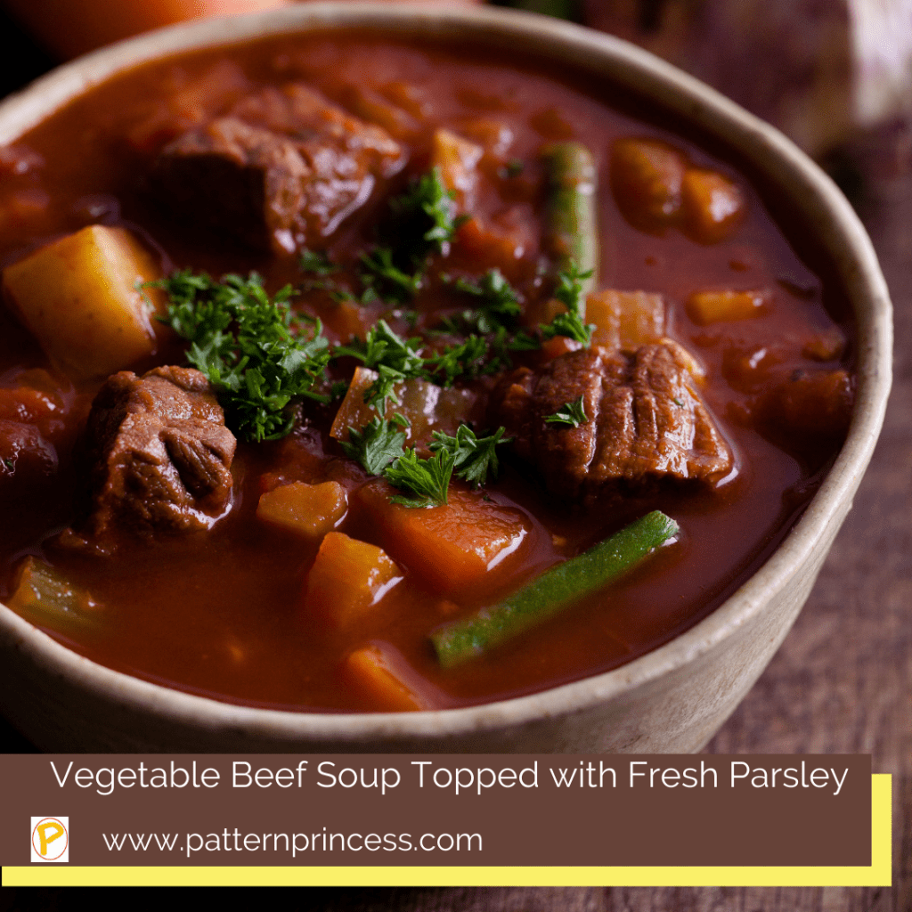 Vegetable Beef Soup Topped with Fresh Parsley