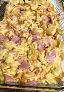 Bread Cheese Ham in Casserole Dish