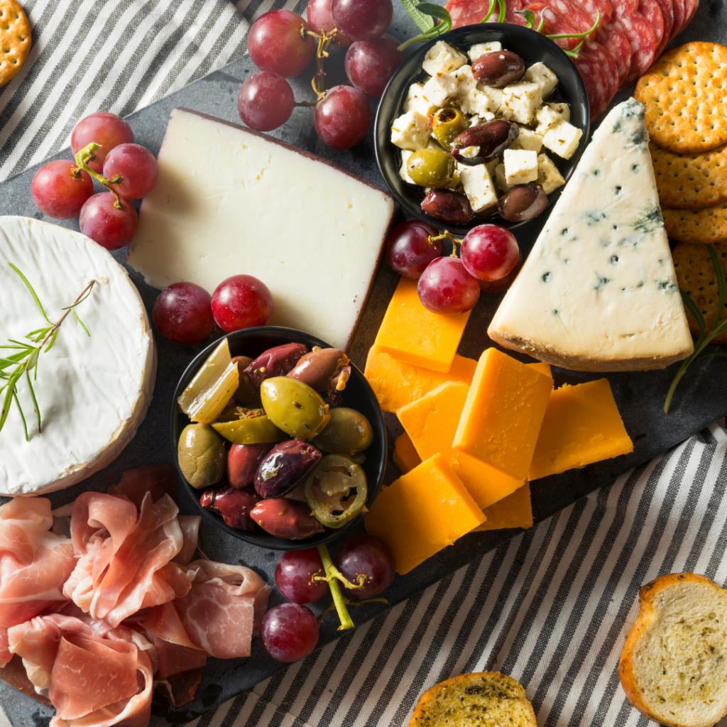 Cheese Smoked Meats and Olives Board Display