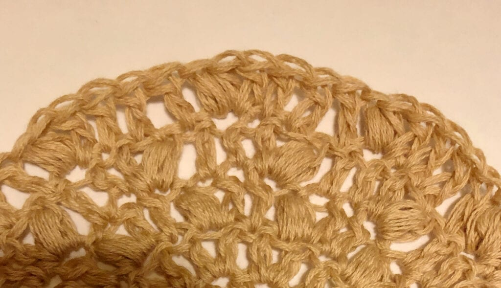 Close up of Puff Stitches in Shawl