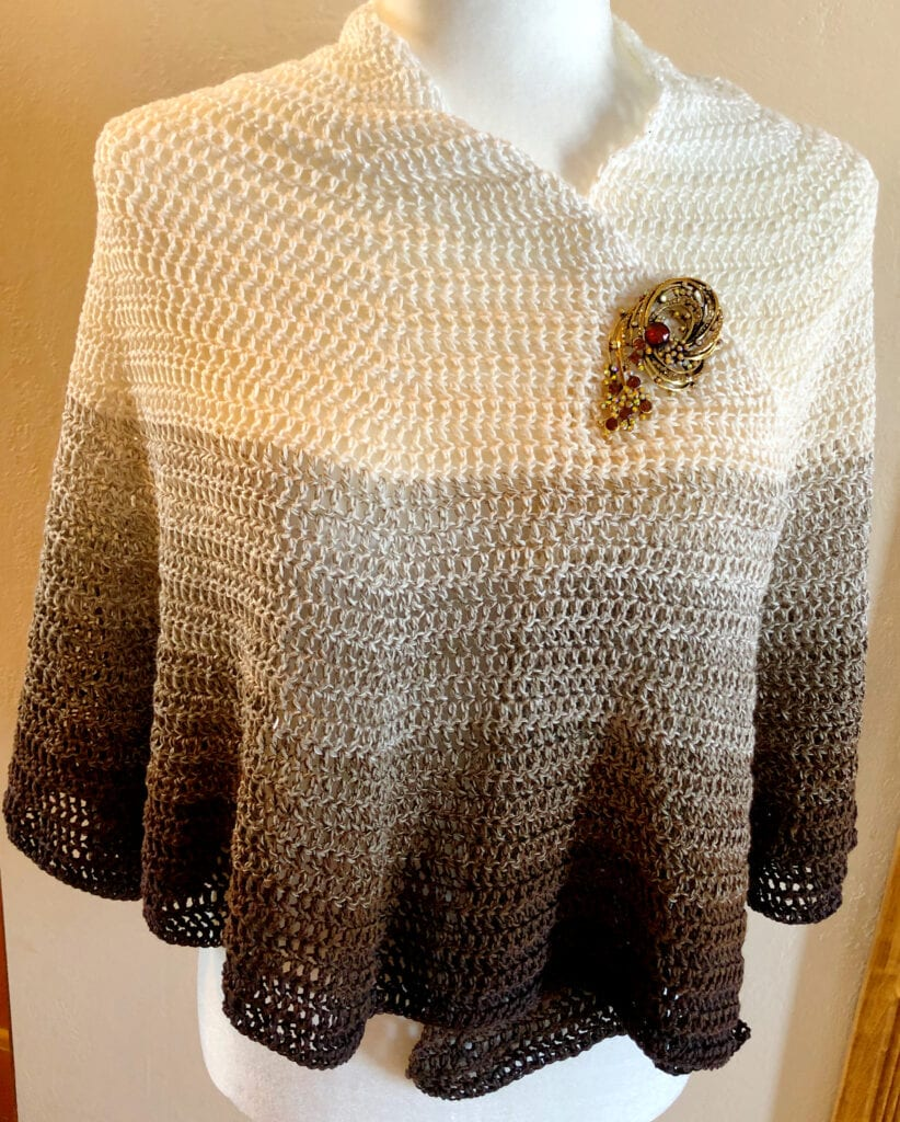 Lacy Crochet Poncho with Pin