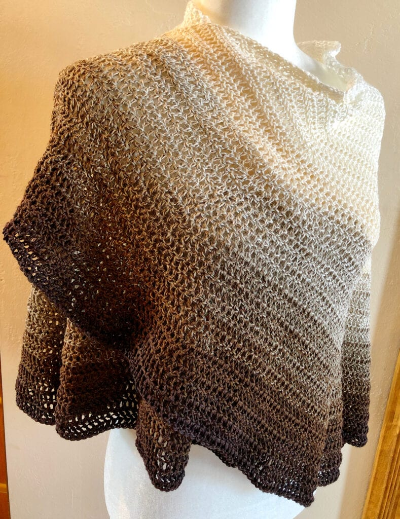 Ombre Shawl with One Edge Draped Over Shoulder