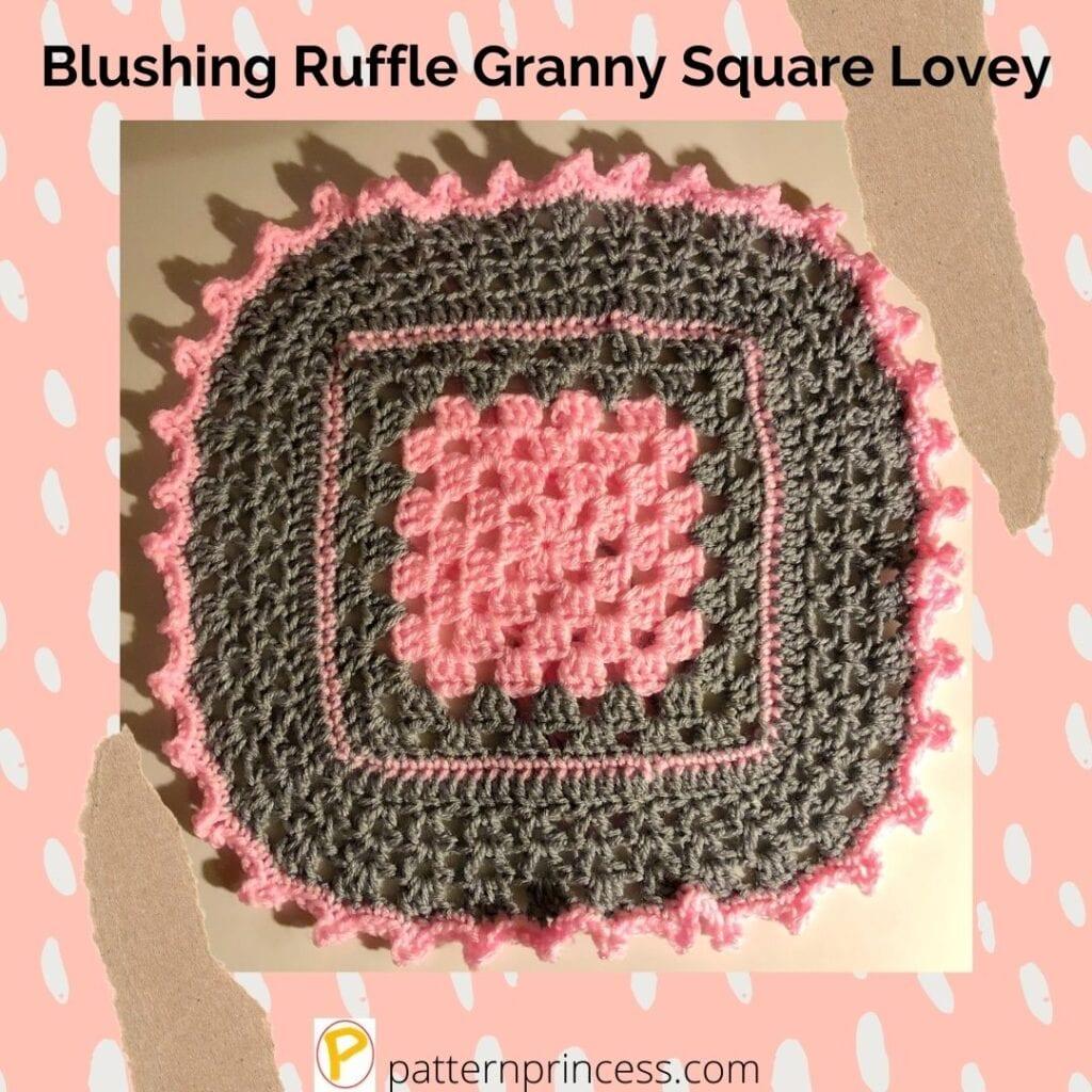 Blushing Ruffle Granny Square Lovey 1