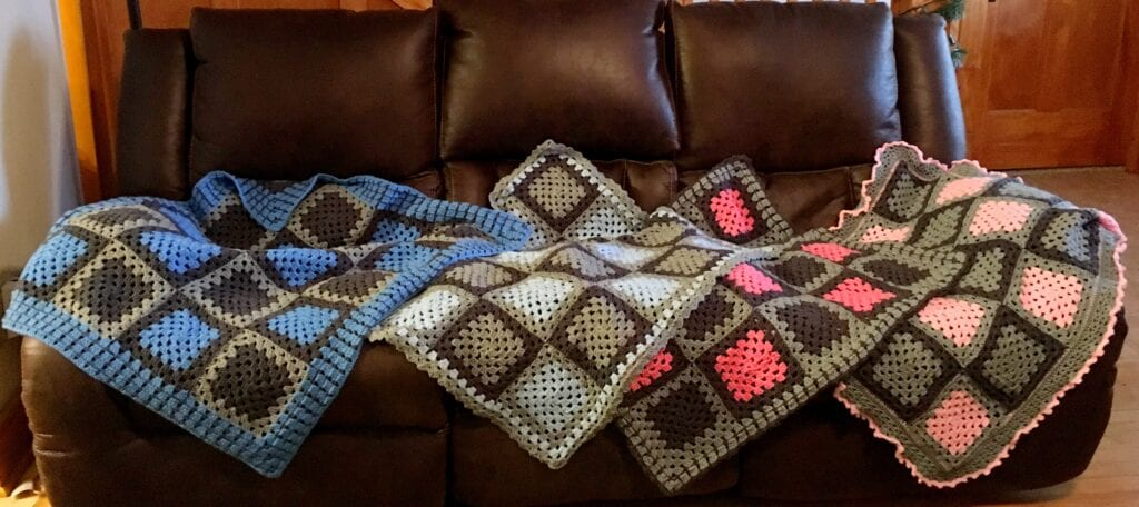 Four Granny Square Baby Blankets